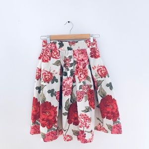 Rose + Olive high-waisted Skirt pink Floral Skirt